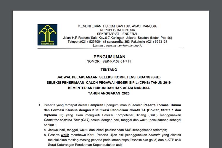 Screenshot pengumuman SKB CPNS 2019 Kementerian Hukum dan HAM