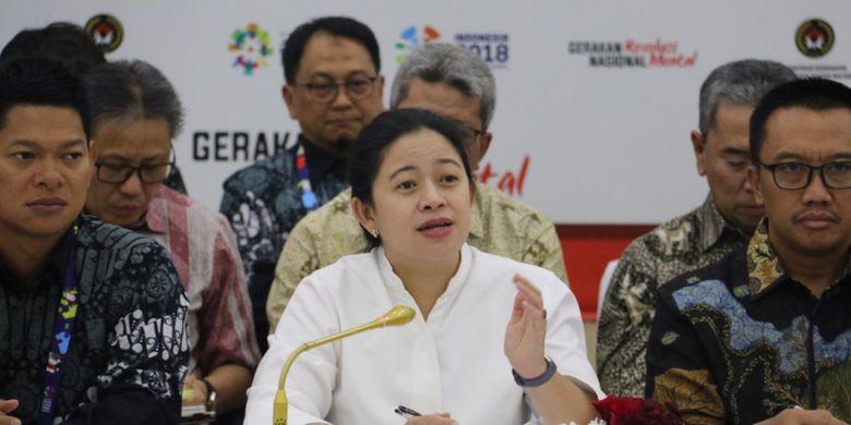 Menko PMK Puan Maharani saat konferensi pers kesiapan Asian Para Games 2018 di Jakarta, Kamis (10/4/2018).