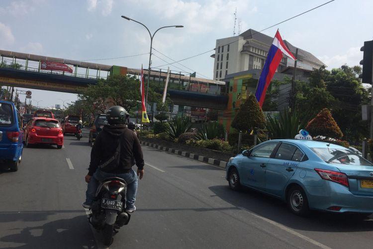 Kondisi arus lalu lintas Jalan Margonda lancar, Jumat (10/8/2018)