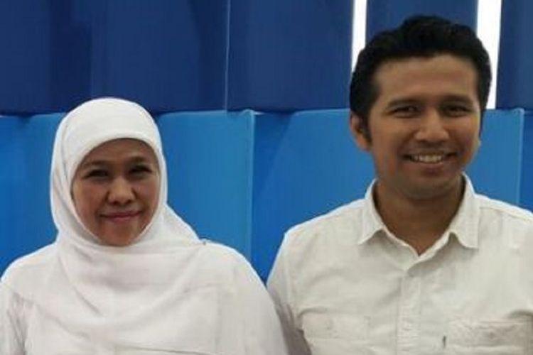 Pasangan calon gubernur dan wakil gubernur Jawa Timur pada Pilkada 2018, Khofifah Indar Parawansa dan Emil Dardak, di Studio Kompas TV, Rabu (7/3/2018).