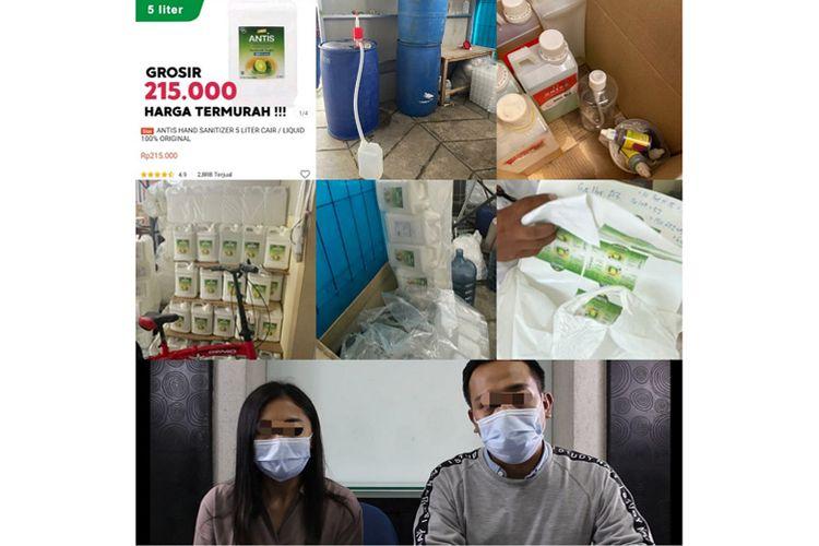 BD dan FY, pelaku pemalsuan hand sanitizer merek Antis