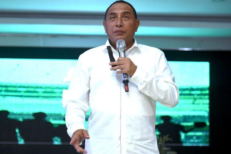 Gubernur Sumatera Utara Edy Rahmayadi saat bersilaturahmi dengan sejumlah wartawan di ruang Raja Inal Siregar, Medan, Rabu (5/12/2018)