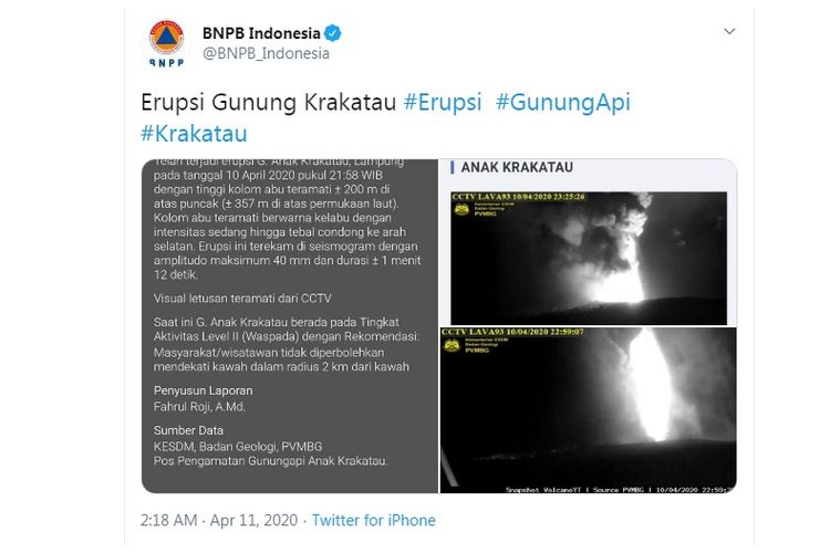 Gunung Anak Kratatau erupsi pada Jumat, 10 April 2020.