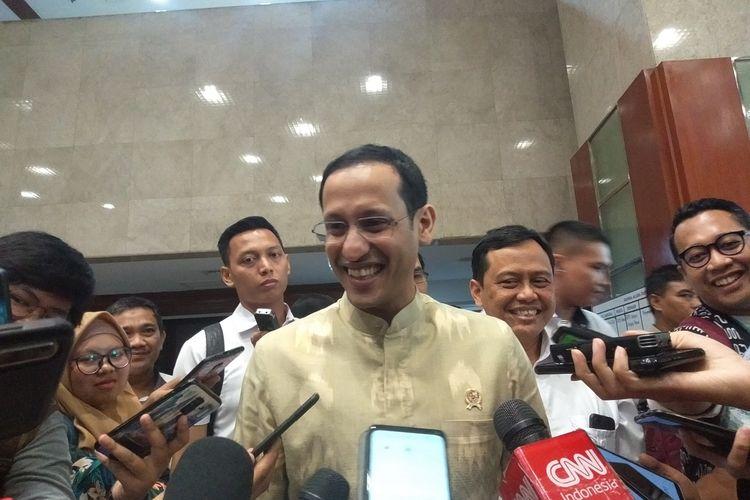 Menteri Pendidikan dan KebudayaanNadiem Makarim di Kompleks Parlemen, Senayan, Jakarta, Kamis (20/2/2020).
