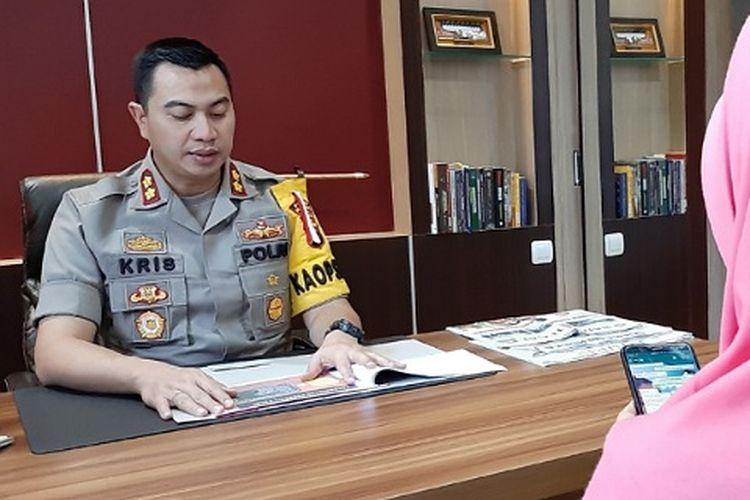 Kapolres Pemalang AKBP Kristanto Yoga Darmawan saat memberikan keterangan kepada wartawan.