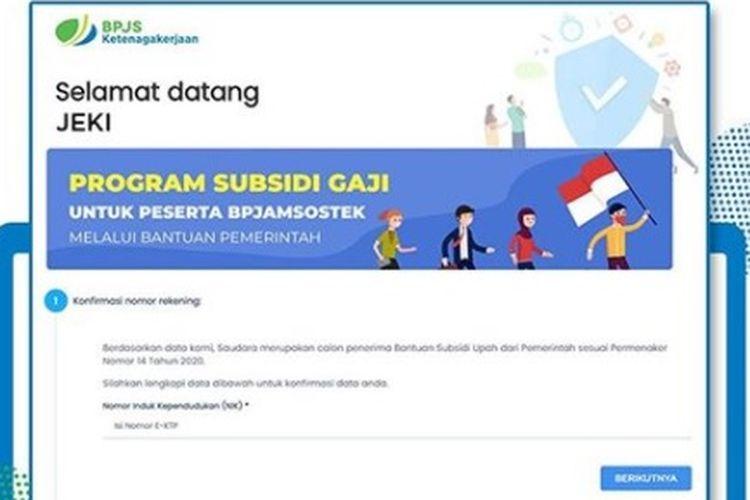 Login registrasi SMS notifikasi subsidi gaji Rp 600.000