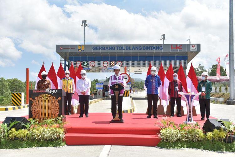 Presiden Joko Widodo meresmikan Tol Sigli-Banda Aceh Seksi 4, Selasa (25/8/2020).