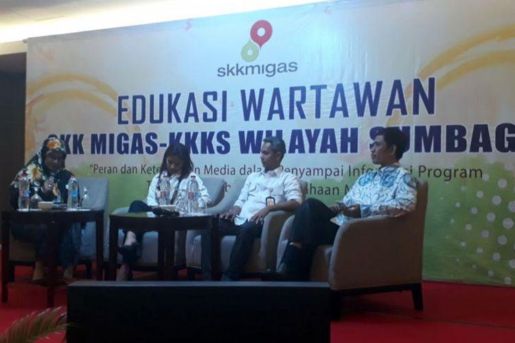 Sejumlah pembicara Edukasi Wartawan SKK Migas - K3S Wilayah Sumbagut. Dari kegiatan ini terungkap bahwa Indonesia tidak lagi kaya Minyak Bumi dan Gas. Bahkan, diketahui semakin krisis dan terus melakukan Impor dari luar untuk memenuhi kebutuhan pemakaian Gas di Indonesia.