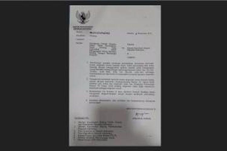 Surat Pemberitahuan Nomor UM.3012/1/21/Phb/2015 tentang larangan Gojek dan sejenisnya.