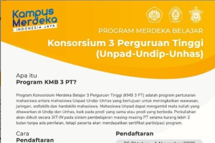 Universitas Padjadjaran (Unpad), Universitas Diponegoro (Undip) dan Universitas Hasanuddin (Unhas) kini tergabung dalam Program Konsorsium Merdeka Belajar 3 Perguruan Tinggi (KMB 3 PT).