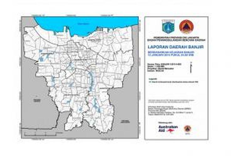 Peta wilayah DKI Jakarta yang sudah terdampak banjir sampai dengan Minggu (12/1/2014) tengah malam