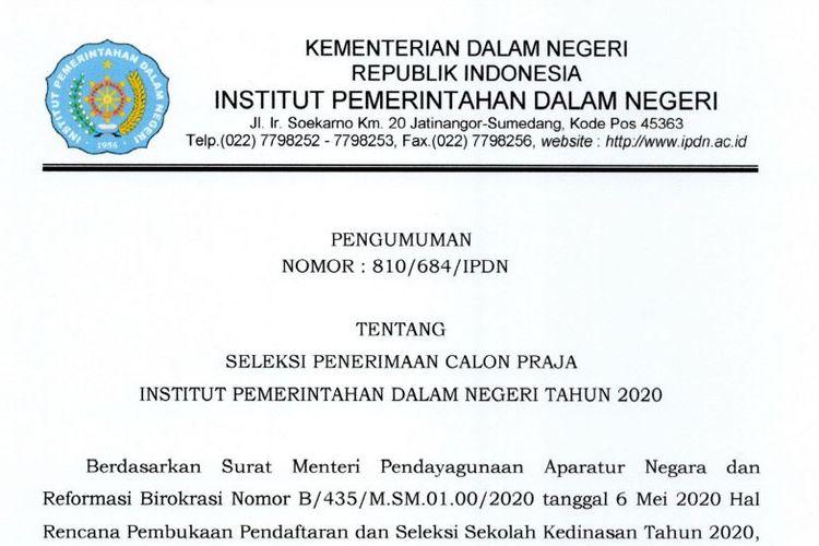Penerimaan Praja IPDN 2020