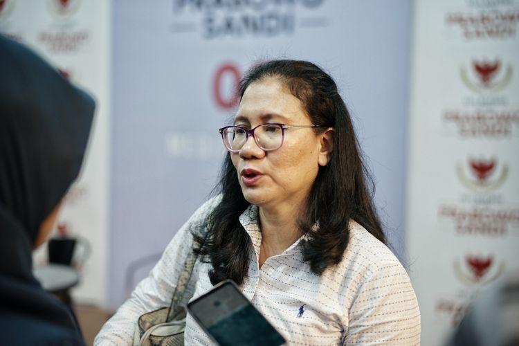 Ketua Divisi Komunikasi Partai Demokrat Imelda Sari saat ditemui di media center padangan Prabowo-Sandiaga, Jalan Sriwijaya, Jakarta Selatan, Jumat (10/5/2019).