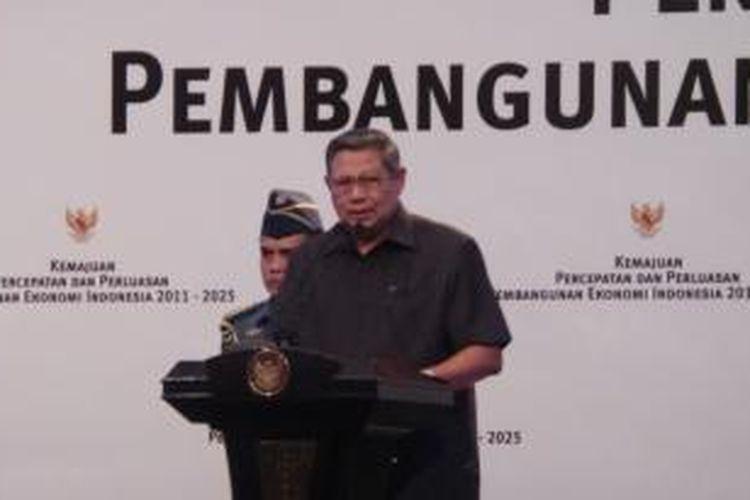 Presiden Susilo Bambang Yudhoyonon dalam acara refleksi pelaksanaan Master Plan Percepatan dan Perluasan Pembangunan Ekonomi Indonesia (MP3EI) di Jakarta Convention Center, Jumat (5/9/2014)