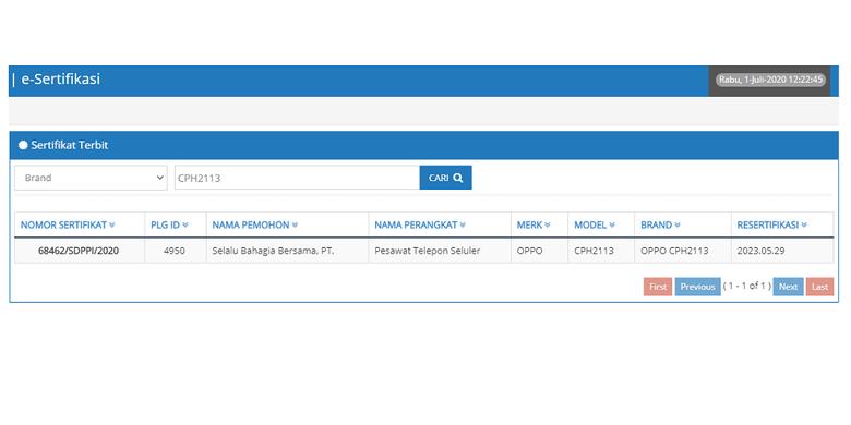 Tangkapan layar laat Postel DItjen SDPPI Kemenkominfo yang memuat sertifikasi Reno4.