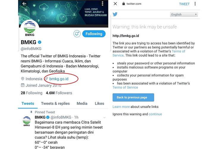 Tangkapan layar akun resmi BMKG dan peringatakan pemblokiran situs web BMKG dari Twitter.