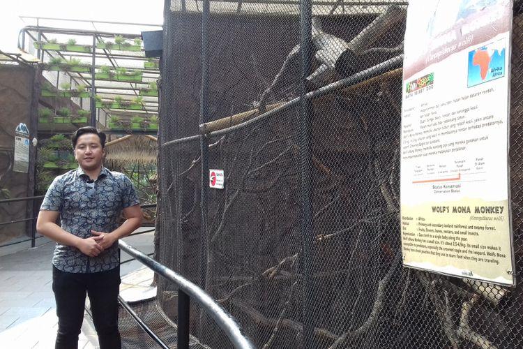 David, penyembur primata asal Afrika, Red-tailed guenon di Batu Secret Zoo, Jatim Park 2, Kota Batu usai menyampaikan permintaan maaf, Senin (30/7/2018)