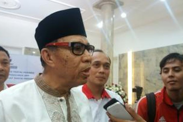 Ketua Dewan Pertimbangan Pusat Partai Perindo Syarwan Hamid saat ditemui di acara Pelantikan Pengurus DPP  serta Organisasi Sayap Partai Perindo di Kantor DPP Perindo, Jakarta, Kamis (8/10/2015).