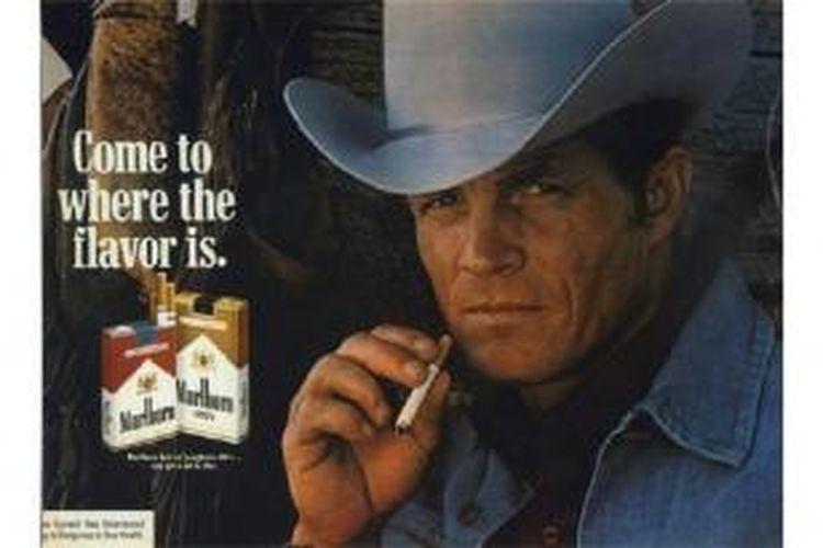 Foto Eric Lawson dalam iklan rokok Marlboro di akhir tahun 1970-an