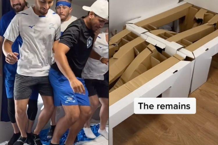 Dalam sebuah video yang diunggah pada Senin (26/7/2021), memperlihatkan tim Israel menguji kapasitas sebenarnya ranjang anti-sex di Olympic Village, Tokyo, Jepang