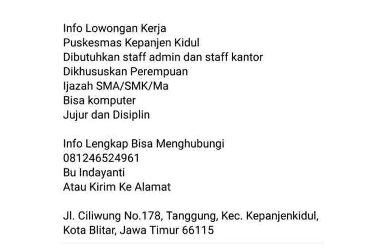 Status Facebook hoaks soal lowongan kerja di Puskesmas Kepanjenkidul, Kota Blitar, Jawa Timur.