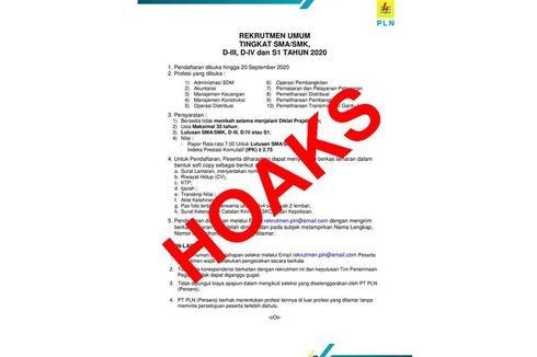 [HOAKS] Informasi Rekrutmen PLN Tingkat SMA-S1 Dibuka hingga 20 September 2020