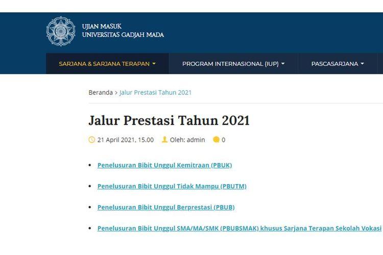 Tangkapan layar laman seleksi masuk Universitas Gadjah Mada (UGM) tahun 2021 melalui jalur prestasi.