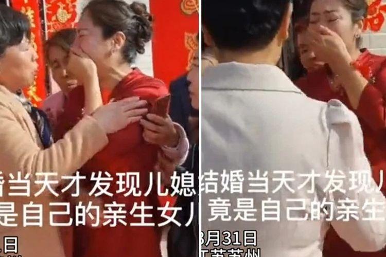 Inilah detik-detik seorang ibu di China menangis karena bertemu dengan ibu kandungnya, yang ternyata menjadi istri putranya.
