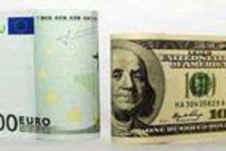 Ilustrasi euro vs dollar AS