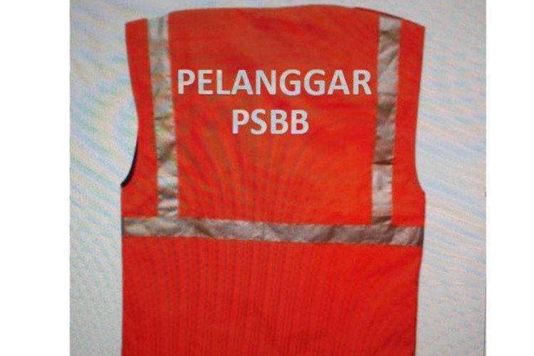 Desain rompi Pelanggar PSBB yang disiapkan oleh Satpol PP Jakarta Pusat menegakan aturan Pergub 41/2020.