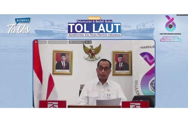 Menteri Perhubungan Budi Karya Sumadi menjadi pembicara kunci dalam webinar Kompas Talks bersama Kemenhub, Senin (21/9/2020). (Dok. Kompas.com)