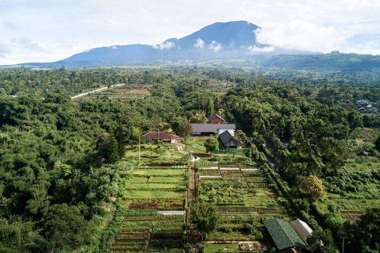 Sukasantai Farmstay dari ketinggian, dengan latar belakang Gunung Gede-Pangrango