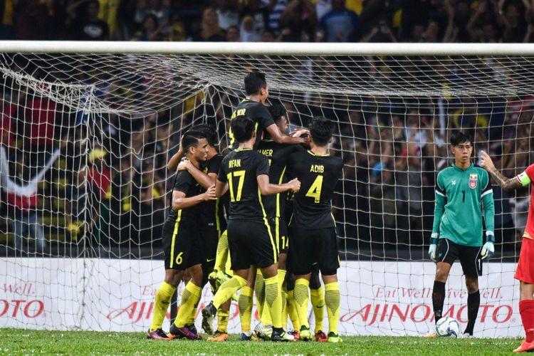 Timnas Malaysia menang 3-1 atas Myanmar pada pertandingan Grup A SEA Games 2017, Senin (21/8/2017).