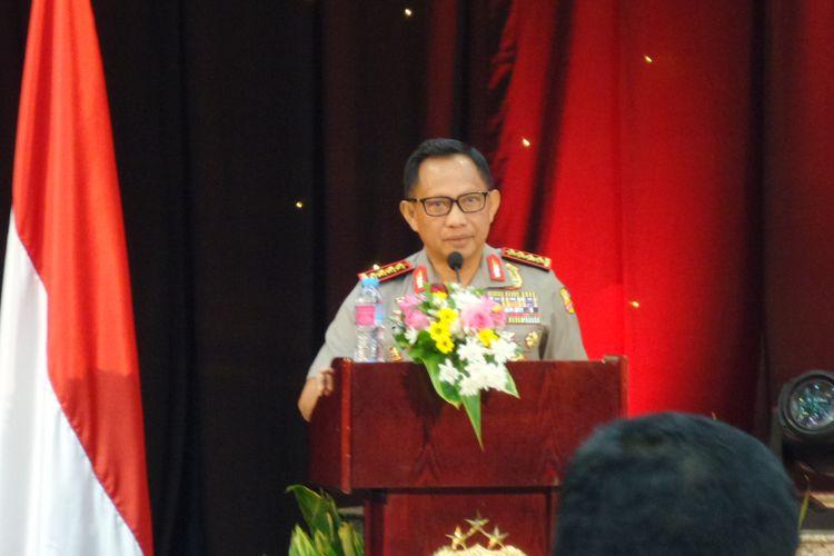 Kapolri Jenderal Pol Tito Karnavian dalam paparan Kinerja Polri 2017 di Rupatama Mabes Polri, Jakarta, Jumat (29/12/2017).