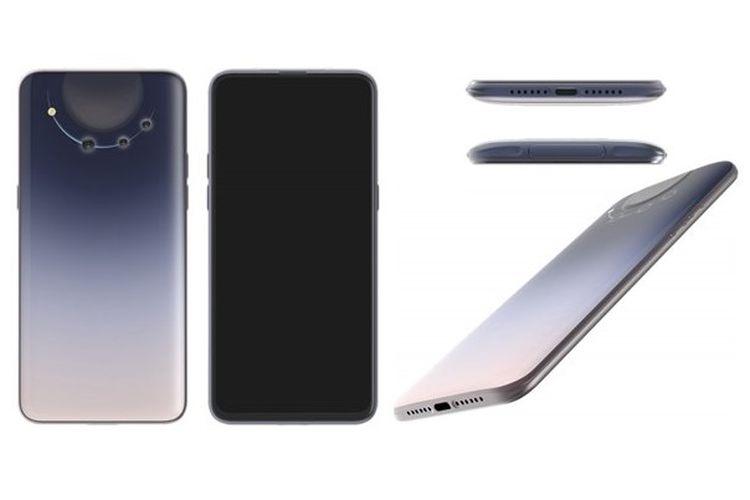 Desain smartphone yang baru dipatenkan Oppo yang dibekali dengan deretan kamera melengkung.