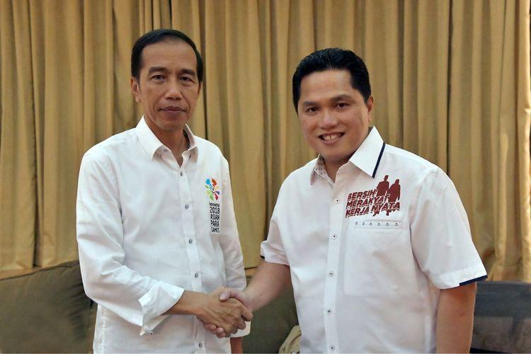 Presiden Joko Widodo bersama Ketua Tim Kampanye Nasional Jokowi-Maruf Amin, Erick Thohir.
