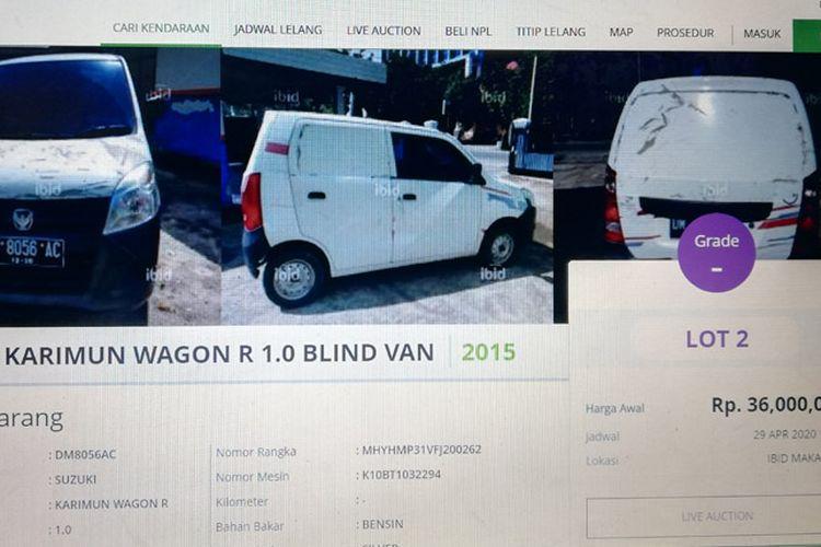 tangkapan layar mobil yang dijual di Ibid-Balai Lelang Serasi