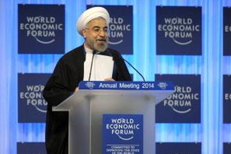 Presiden Iran Hassan Rohani berbicara di pertemuan tahunan Forum Ekonomi Dunia (WEF) yang digelar di Davos, Swiss.