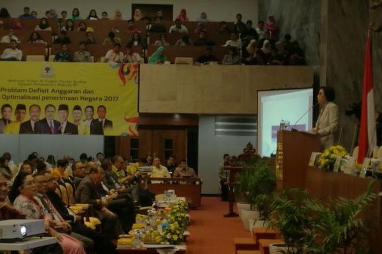 Menteri Keuangan Sri Mulyani di Gedung DPR RI, Jakarta, Senin (20/2/2017)