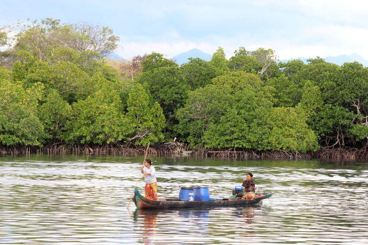 Dua wanita Suku Bajau dengan mnggunakan perahu sedang mengambil air bersih dari daratan melintasi kawasan hutan bakau yang lestari.