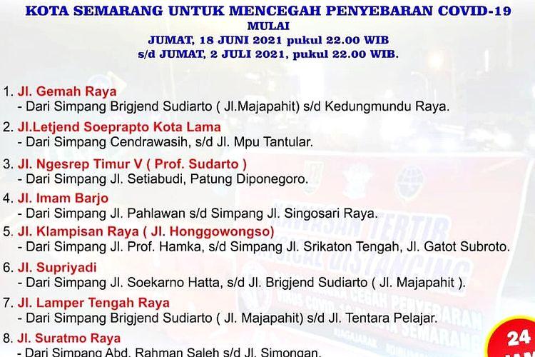 Poster informasi pengalihan arus lalu lintas delapan ruas jalan Kota Semarang dalam rangka mencegah penyebaran virus Covid-19