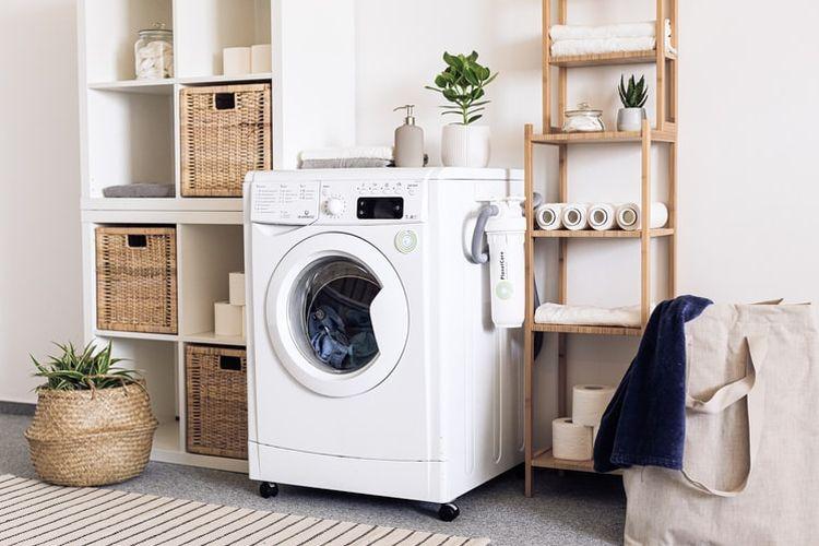 Ilustrasi mesin cuci dan ruang mencuci