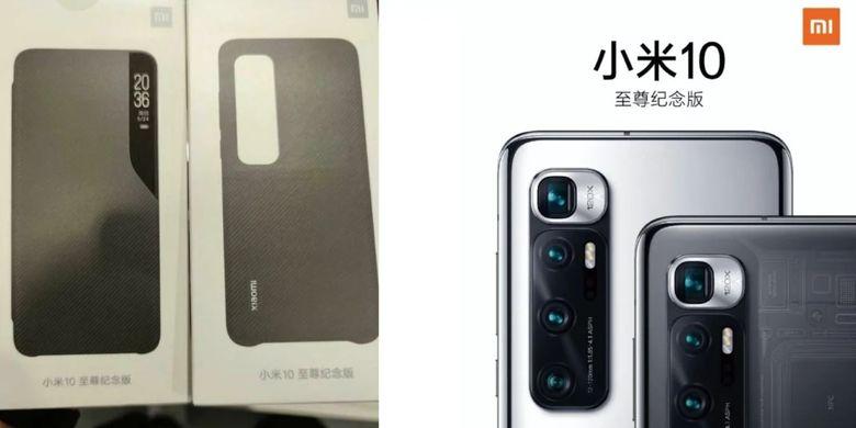 Ilustrasi cover case dan tampilan kamera belakang Mi 10 Ultra.