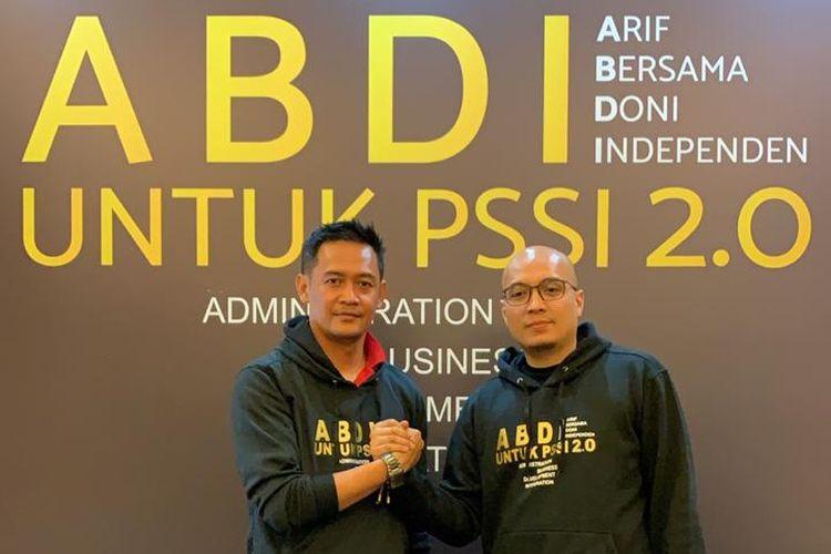 Arif  Putra Wicaksono CEO Nine Sport Inc bersama Doni Setiabudi selaku CEO Bandung Premier League menyatakan kerjasama untuk memenangkan pemilihan pengurus PSSI.