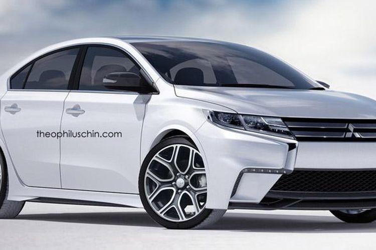 Rendering Lancer generasi baru diambil dari garis desain beberapa ciri khas Mitsubishi.