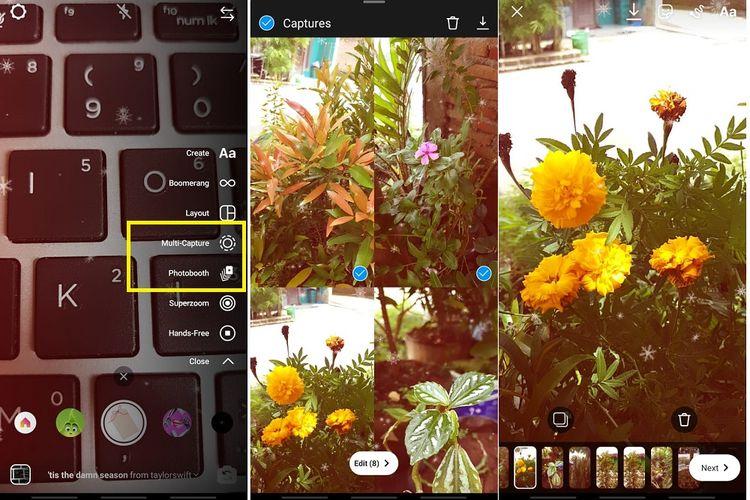 Cara menggunakan fitur multi capture di Instagram Story.