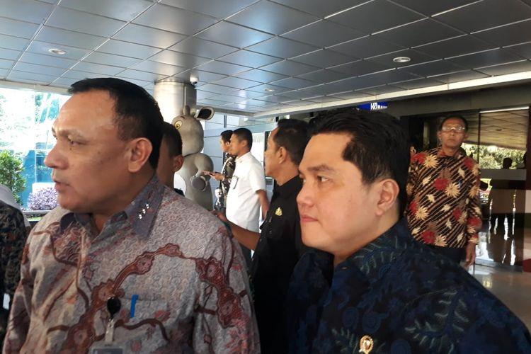 Ketua KPK Firli Bahuri dan Menteri BUMN Erick Thohir di Kementerian BUMN, Jakarta, Selasa (28/1/2020).
