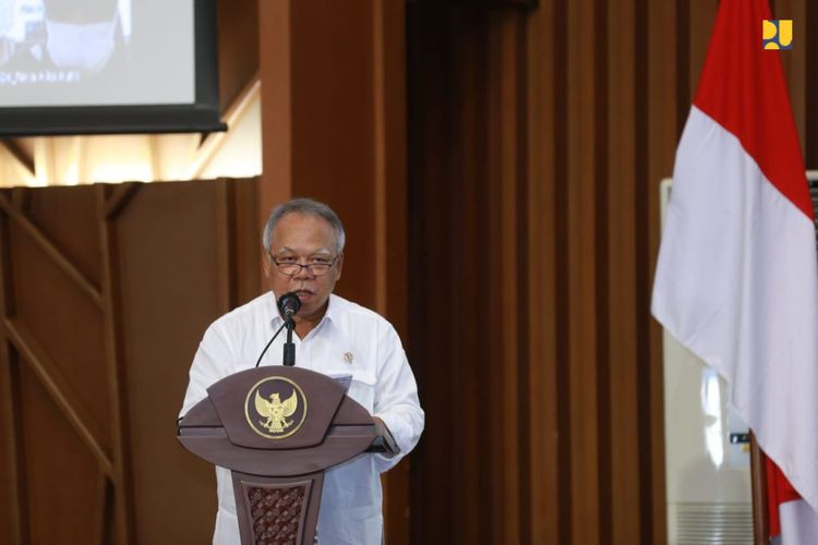 Menteri Pekerjaan Umum dan Perumahan Rakyat (PUPR) Basuki Hadimuljono pada sambutan kegiatan Pencanangan Pembangunan Zona Integritas Menuju WBK/WBBM dan SMAP di Ditjen Bina Konstruksi, Selasa (25/5/2021).