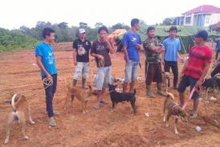 Para pemburu bersama anjingya bersiap dalam olahraga berburu babi hutan di Bengkulu.