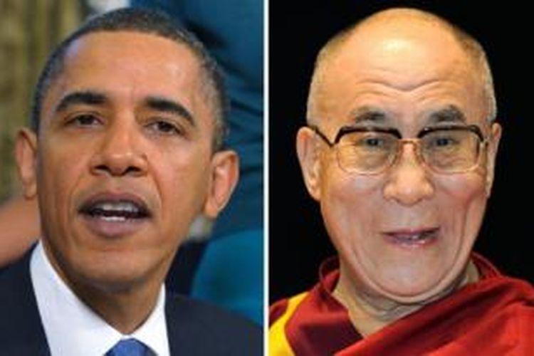 Presiden AS Barack Obama dan pemimpin spiritual Tibet, Dalai Lama.